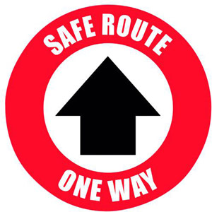 Social Distance Marker - Safe Route One Way - 235mm