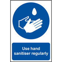 Self adhesive vinyl Use Hand Sanitiser Regularly Sign (200 x 300mm). Easy to fix, peel off the backing and apply to a clean and dry surface.