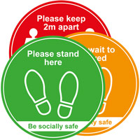 Social Distancing Floor Graphic - Traffic Light Pack of 3 (400mm dia.)
