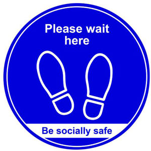 Blue Floor Sign - Wait Here - 400mm (Pack of 5)