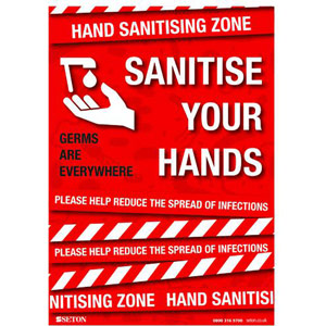 A3 Sanitise Your Hands - Polypropylene with Adhesive - FA064A3ARP