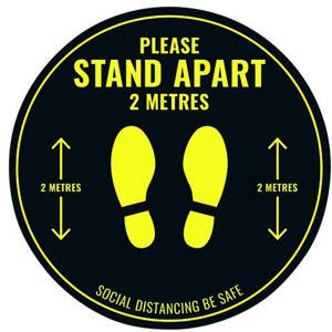 Social Distance Circular Floor Sticker - 400mm (Pack of 5)