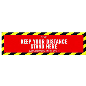 Social Distance Floor Sticker - 500x130mm (Pack of 5)
