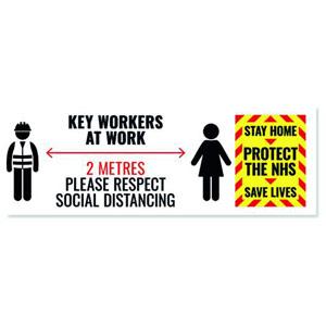 Social Distance Key Worker Sticker - 450x150mm (Pack of 5)